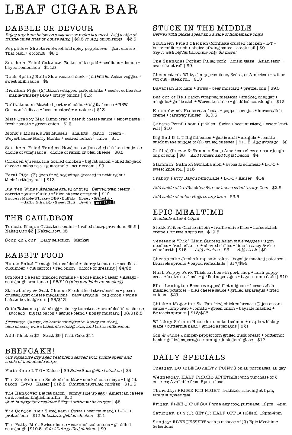 Leaf Menu - March 2015